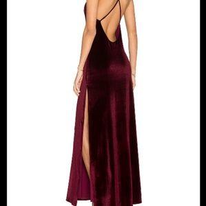 NBD in the deep velvet burgundy wine maxi dress
